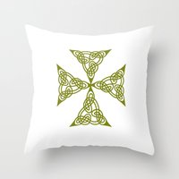 marc johns Throw Pillows featuring Lindisfarne St Johns Knot Grunge by taiche