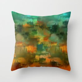 """Abstract forest in Autumn"" Throw Pillow"