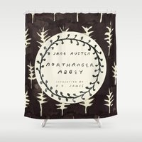 jane austen Shower Curtains featuring Remember Jane Austen (6) - Northanger Abbey by MW. [by Mathius Wilder]
