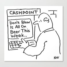 Bank Cashpoint Machine Gives Advice Canvas Print