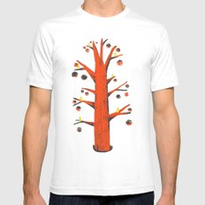 Red Tree, Yellow Birds SMALL White Mens Fitted Tee