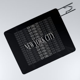 New York City (type in type on black) Picnic Blanket