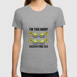 I'm This Many Excavators Old 4 Birthday Gift T-shirt