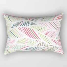 Palm Leaf, Striped Abstract Wave Pattern, Pastel Pink, Grey, Green, Blue Rectangular Pillow