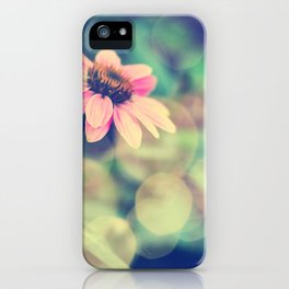 Romance. Golden dust pink daisy with bokeh. iPhone Case