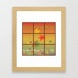 Falling Leaves on Window Pane Framed Art Print