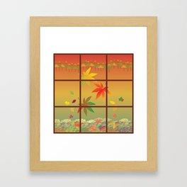 Falling Leaves on Window Pane Framed Art Print