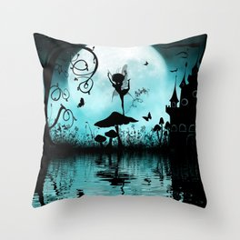 Dancing in the night, cute fairy Throw Pillow