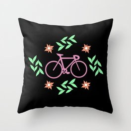 Bicycle lovers design // by cicle and local illustration Throw Pillow