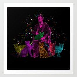 Preposterous Presidents - Lincoln - Rainbow Cat Party Art Print