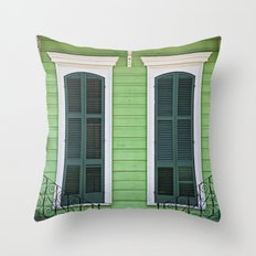 Green Creole Cottage Throw Pillow