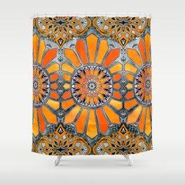 Celebrating the 70's - tangerine orange watercolor on grey Shower Curtain