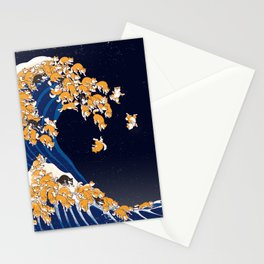 Shiba Inu The Great Wave in Night Stationery Cards