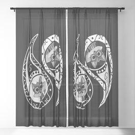 Ying Yang - Fox Nerd Sheer Curtain