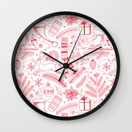 Doodle Christmas pattern red Wall Clock