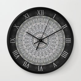 Mandala in white, grey and silver tones Wall Clock