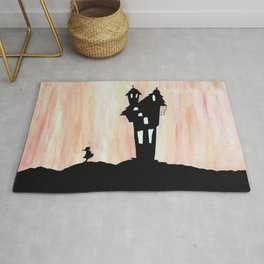 Little Red Riding Hood Enchanted House Fairy Tale Storybook Haunted house Spooky illustration Rug