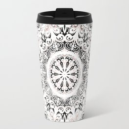 Dreamer Mandala White On Rose Gold Travel Mug