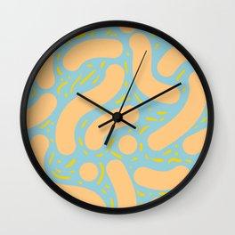 Wibbly Wobbly - Peach, Marigold and Greyish Blue Wall Clock