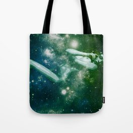 Green Teal Galaxy Girl Tote Bag