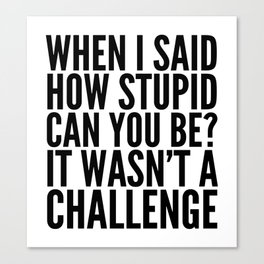When I Said How Stupid Can You Be? It Wasn't a Challenge Canvas Print