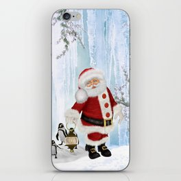 Santa Claus with funny penguin iPhone Skin