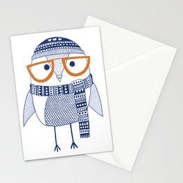 Hipster owl - orange glasses Stationery Cards