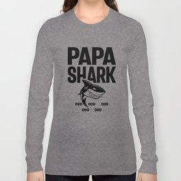 Papa Shark T-Shirt Doo Doo Doo Fathers Day Papa Shirt Long Sleeve T-shirt