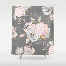 Night Rose Garden Gray Shower Curtain