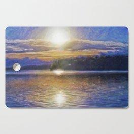 Sun Rising Over Lake - Art Edit Cutting Board