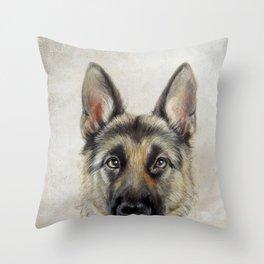 German Shepard Dog illustration original painting print Throw Pillow