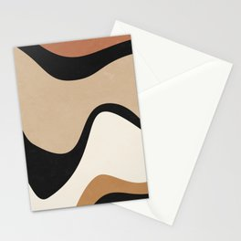 ABSTRACT WAVES - BEIGE AND ORANGE  Stationery Cards