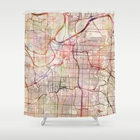 kansas city Shower Curtains featuring Kansas City by MapMapMaps.Watercolors