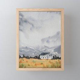 Mountain Cottage Digital Download Art Print Landscape Watercolor Painting Poster Wall Decor Framed Mini Art Print