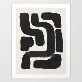 Black Ink Paint Brush Strokes Abstract Organic Pattern Mid Century Style Art Print