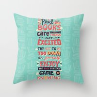 risa rodil Throw Pillows featuring Read Books by Risa Rodil