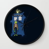 kermit Wall Clocks featuring Doctor Who Kermit by Roe Mesquita