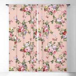 Modern Vintage Pink Coral Green Floral Pattern Blackout Curtain