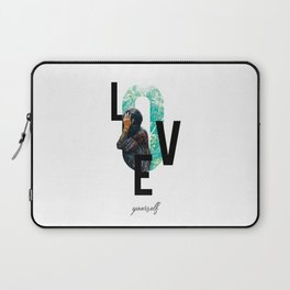 Modern Design, Love Yourself Quote, Self Care, Inspirational Quote, Double Exposure Laptop Sleeve