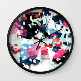 Paige - abstract painting hipster home decor trendy color palette art gifts Wall Clock