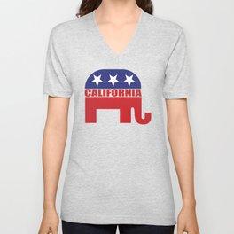 California Republican Elephant Unisex V-Neck