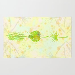 Tropical Leaf Watercolor Painting, Green Palm Tree Leaves Rug