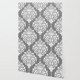 Grey Damask Wallpaper