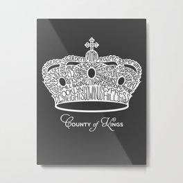 County of Kings | Brooklyn NYC Crown (WHITE) Metal Print