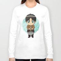 shingeki no kyojin Long Sleeve T-shirts featuring Shingeki no Kyojin - Chibi Eren by Tenki Incorporated