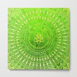 Light Green Floral Mandala Metal Print