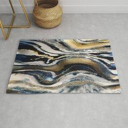 Flowing Geode Blue & Gold Rug