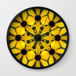 Black-eyed susan kaleidoscope, mandala Wall Clock