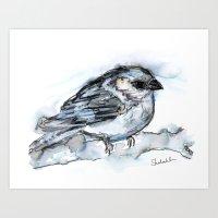 Little Wintry Bird, Watercolor Art Print