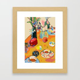 TEA AND FLOWERS AT HOME Framed Art Print